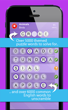 Over 5000 themed puzzle words and over 6000 common English words - expand your vocabulary!